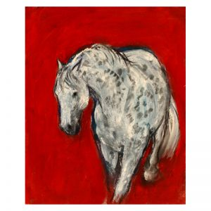 Grey horse on red paint and charcoal on paper MUG