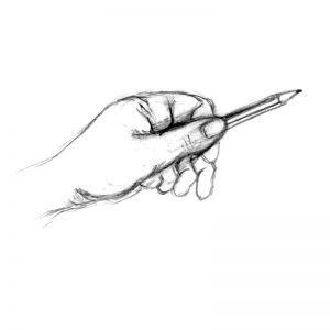 Measuring with pencil in drawing
