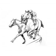 Racing scenes 2 The gallops charcoal