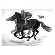 Racing scenes 8 Two horses on gallops charcoal drawing lo res