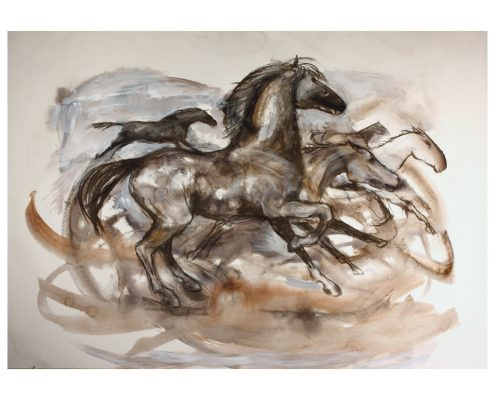 Running Horse wash and charcoal on paper