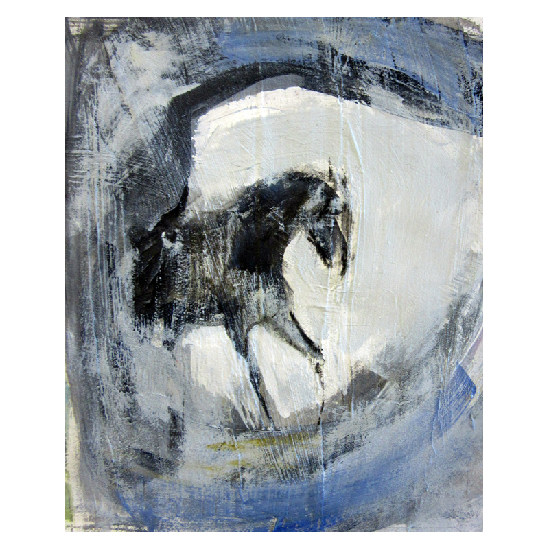 Horse in cave paint and charcoal