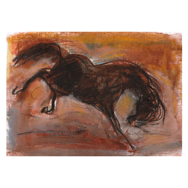 Bucking Horse mixed media pastel and charcoal drawing