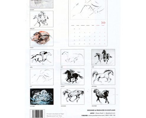 Diana Hand A4 equestrian calendar racing theme year at a glance