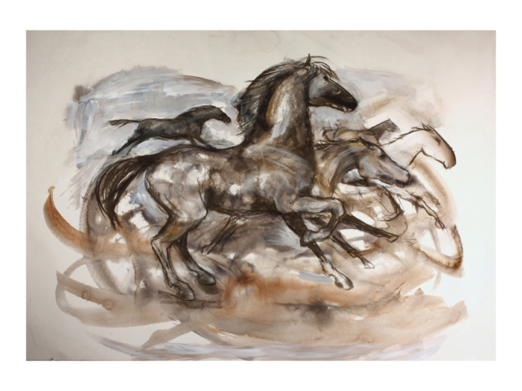 Running horses wash and charcoal on paper