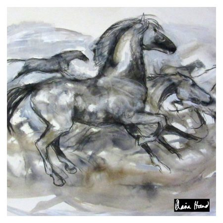 Running horse large silk square