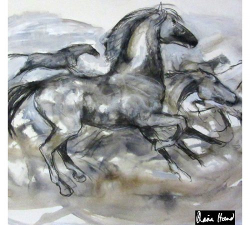 Running horse large silk square