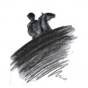 Abstract 13 Horse and rider charcoal drawing