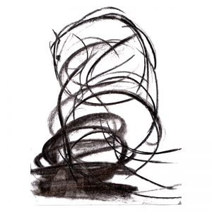 Abstract drawing of horse charcoal on paper MUG