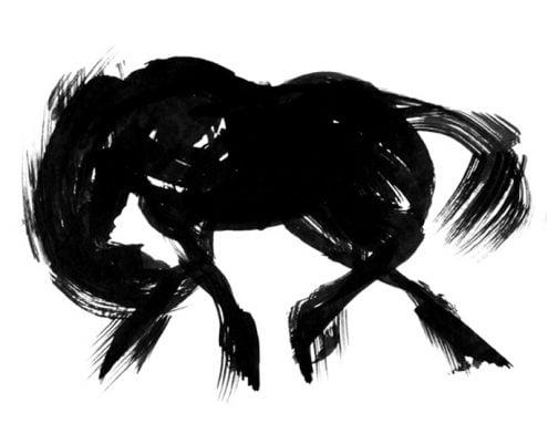 BLACK FRISIAN horse ink drawing with brush on paper MUG