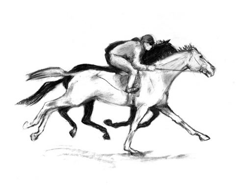 Moving along 2 charcoal racehorses