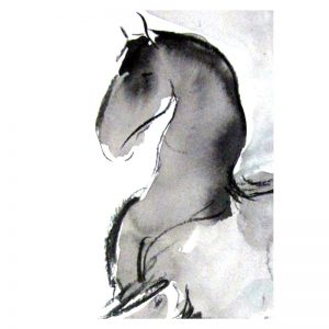 Proud horse abstract ink and wash drawing