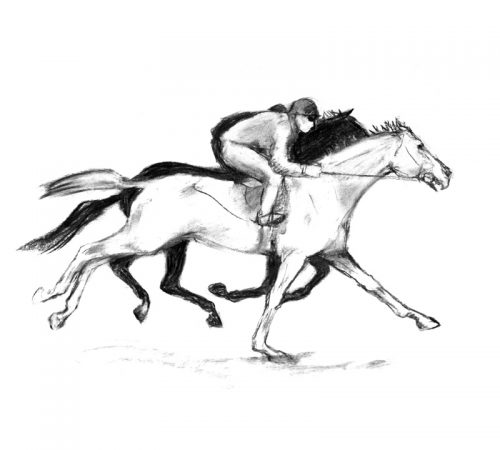 Racing scenes 3 The gallops charcoal drawing
