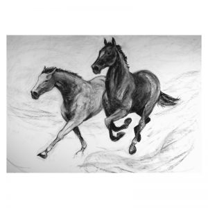 Racing scenes 7 Two horses running free charcoal drawing MUG