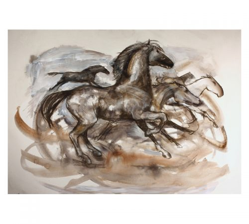 Running horses wash drawing 1370 x 110 MUG