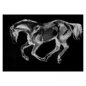 Stallion in paddock charcoal digitally rendered