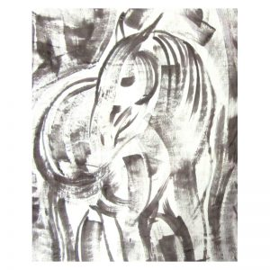 Hand painted textiles Grey Horses silk scarf