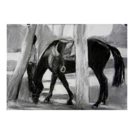 Laikipia 3 Richard and his horse charcoal on paper