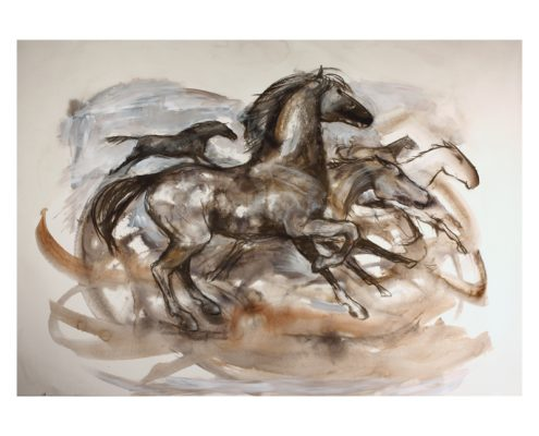 Running horses wash on paper