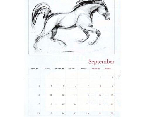 Diana Hand A4 equestrian calendar racing theme sample jpg