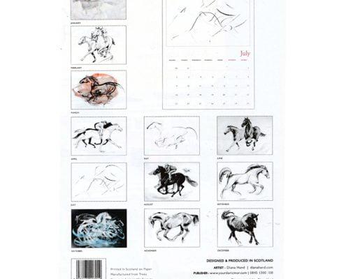 Diana Hand A4 equestrian calendar racing theme year at a glance