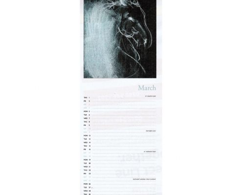 Diana Hand slimline equestrian calendar abstract sample page