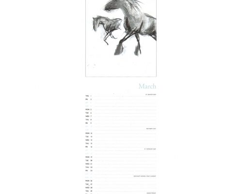 Diana Hand slimline equestrian calendar charcoal drawings sample