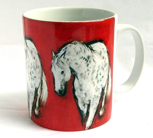 ceramic mug grey on red
