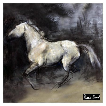 Silver beauty large silk square horse drawing