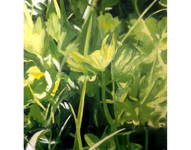 Green oil painting by Diana Hand