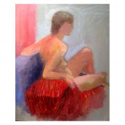 Oil painting of nude model
