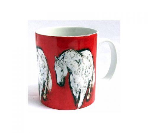 Grey on red mug Diana Hand