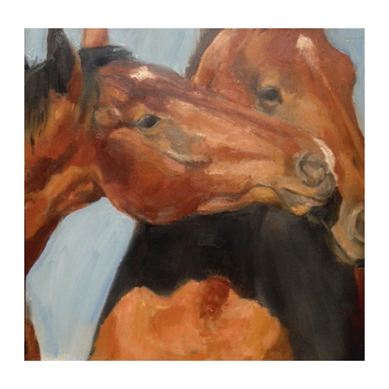 Oil painting horses' heads