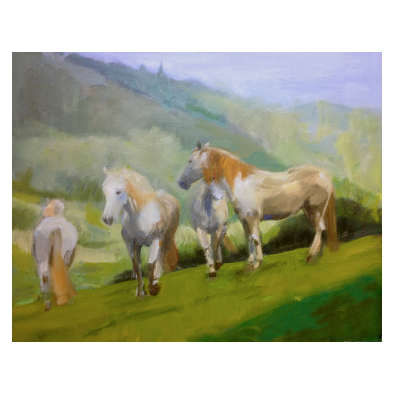 White Horses Diana Hand original oil painting