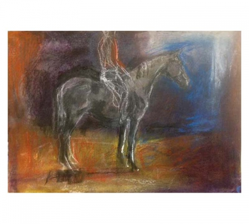 Horse and rider drawing in pastel Diana Hand