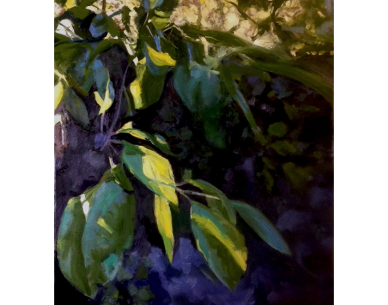 Plum tree and wall oil painting Diana Hand