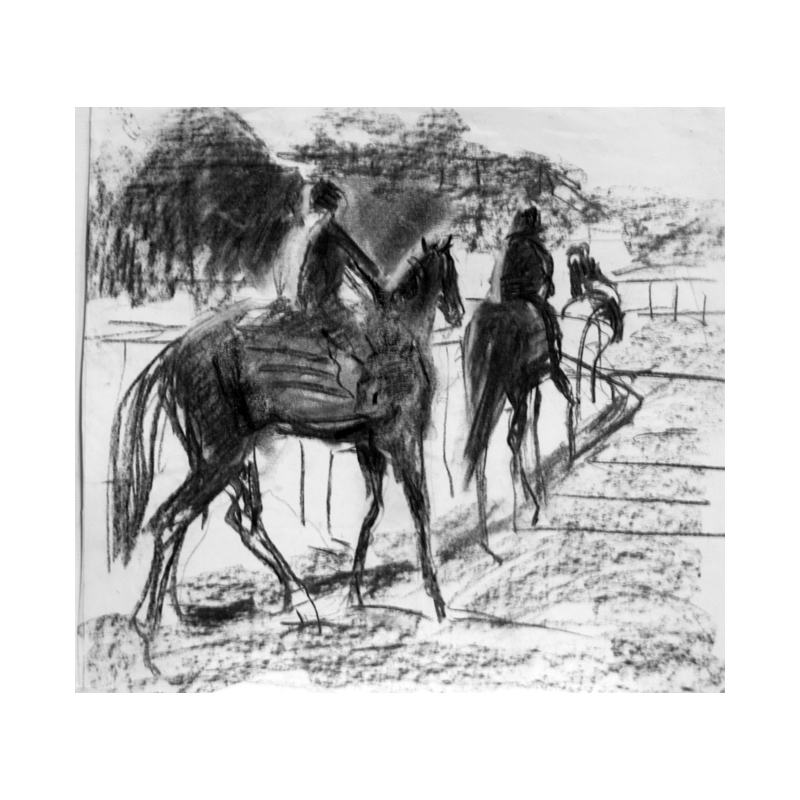 Newmarket charcoal drawing by Diana Hand