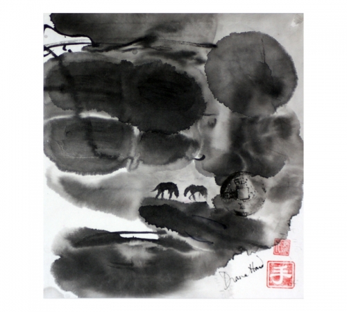 Horses in chinese style by Diana Hand