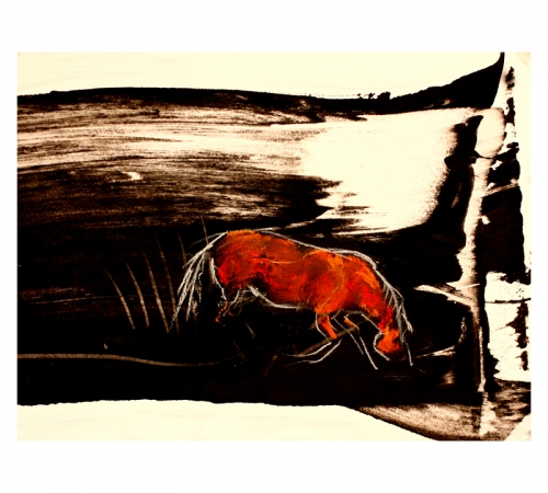 Abstract horse drawing by Diana Hand
