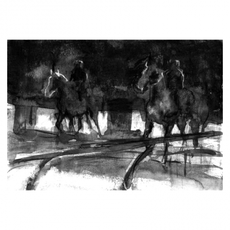 Horses in movement ink and wash drawing by Diana Hand
