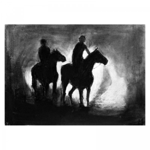 Dawn Riders Charcoal and paint on board 400 x 300 by Diana Hand