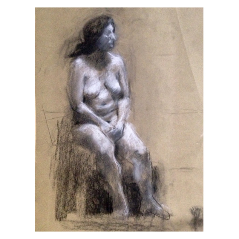 Life study Charcoal and chalk on tinted paper