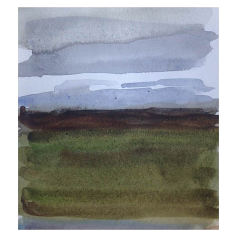 Flanders Moss near Stirling Watercolour on paper 120 x 120 mm