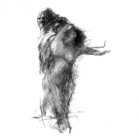 The Dancers Charcoal drawing by Diana Hand